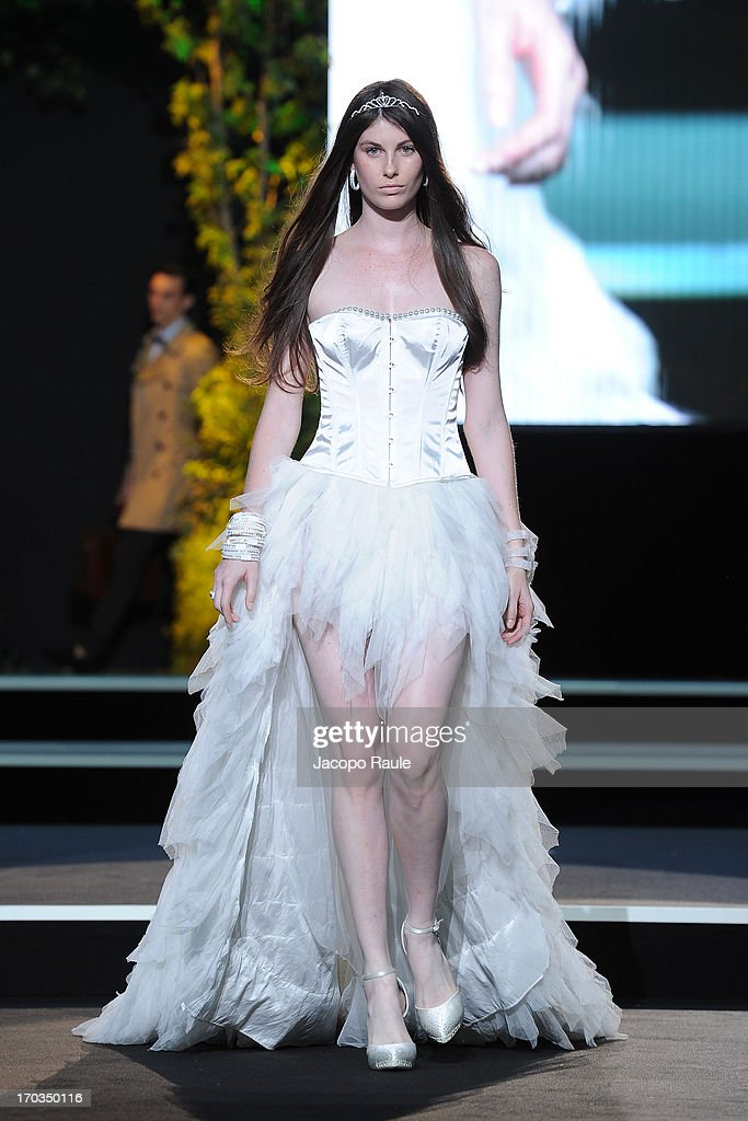 A model walks the runway at the Hip Hop fashion show during Glamour Live Show on June 11, 2013 in Milan, Italy.