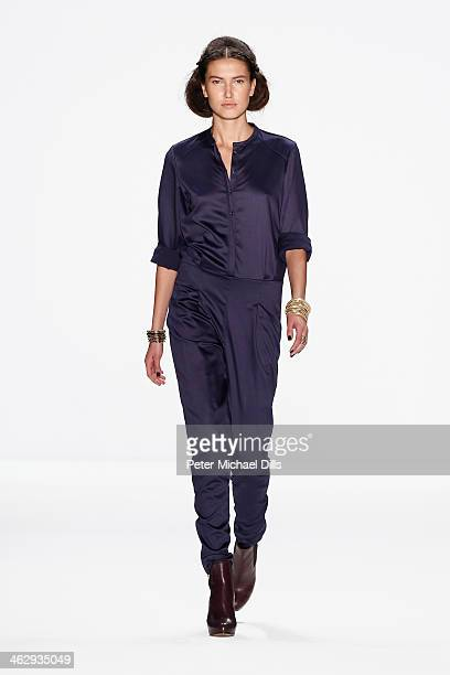 A model walks the runway at the Holy Ghost show during MercedesBenz Fashion Week Autumn/Winter 2014/15 at Brandenburg Gate on January 16 2014 in...
