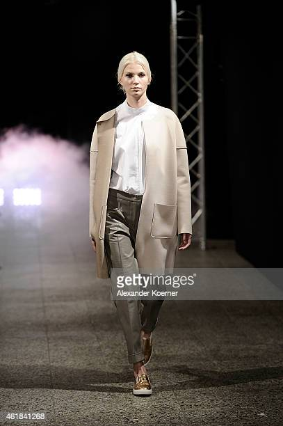 A model walks the runway at the Holy Ghost show during the MercedesBenz Fashion Week Berlin Autumn/Winter 2015/16 at Ho Project Space on January 20...