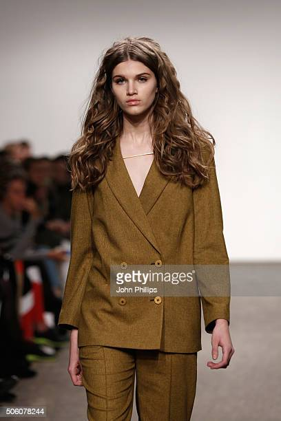 A model walks the runway at the Holy Ghost show during the MercedesBenz Fashion Week Berlin Autumn/Winter 2016 at Stage at me Collectors Room on...