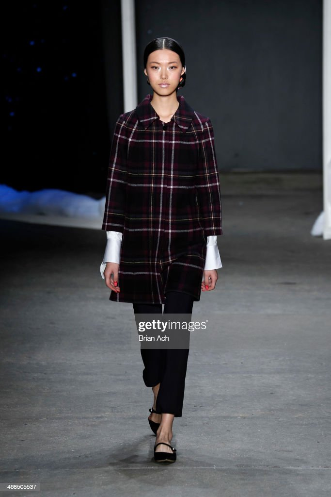 A model walks the runway at the Honor fashion show during Mercedes-Benz Fashion Week Fall 2014 at Eyebeam on February 10, 2014 in New York City.