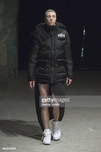 A model walks the runway at the Hood By Air Fashion Show during MercedesBenz Fashion Week Fall 2015 at Fall Studios on February 15 2015 in the...