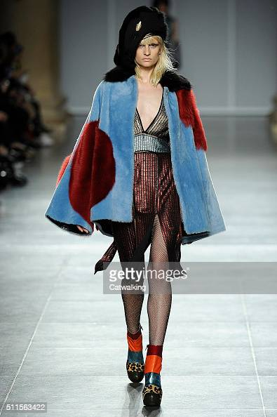 A model walks the runway at the House of Holland Autumn Winter 2016 fashion show during London Fashion Week on February 20 2016 in London United...