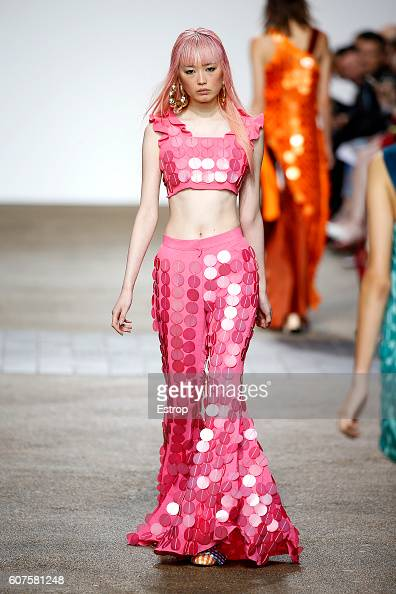 A model walks the runway at the House of Holland designed by Henry Holland show during London Fashion Week Spring/Summer collections 2017 on...
