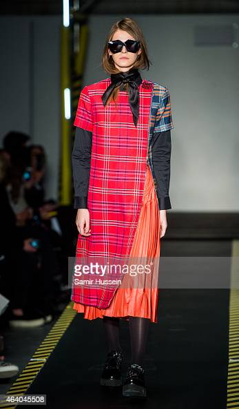 A model walks the runway at the House of Holland show during London Fashion Week Fall/Winter 2015/16 at University of Westminster on February 21 2015...