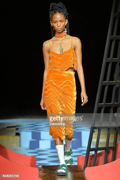 A model walks the runway at the House of Holland Spring Summer 2018 fashion show during London Fashion Week on September 16 2017 in London United...