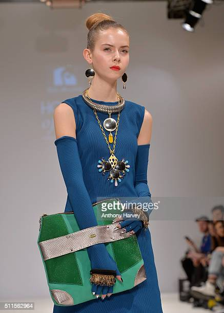 A model walks the runway at the House of Mea show at Fashion Scout during London Fashion Week Autumn/Winter 2016/17 at Freemasons' Hall on February...