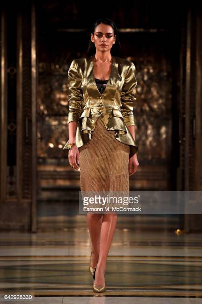 A model walks the runway at the House Of Mea show during the London Fashion Week February 2017 collections on February 19 2017 in London England