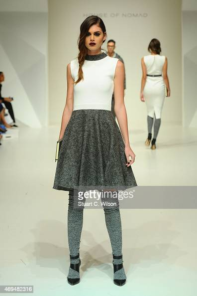 A model walks the runway at the House of Nomad show during Dubai Fashion Forward April 2015 at Madinat Jumeirah on April 12 2015 in Dubai United Arab...