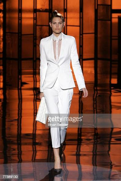 A model walks the runway at the Hugo Boss presents their Boss Black Spring/Summer 2008 Collection show at the Cunard building on October 17 2007 in...