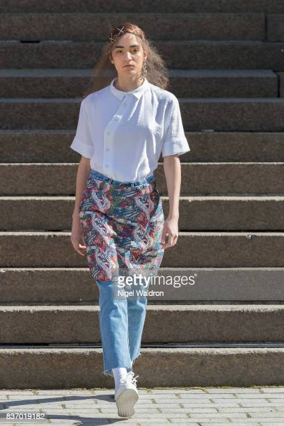 A model walks the runway at the IBEN show during the Fashion Week Oslo Spring/Summer 2018 at the Deichmanske Bibliotek on August 22 2017 in Oslo...