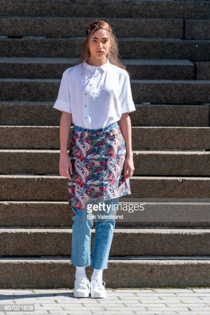 A model walks the runway at the IBEN show during the Fashion Week Oslo Spring/Summer 2018 on August 22 2017 in Oslo Norway