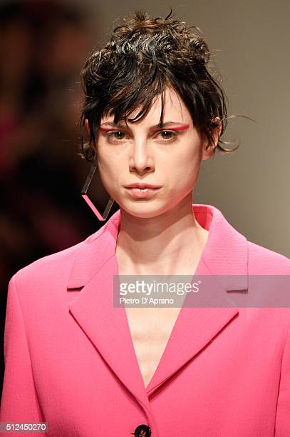 A model walks the runway at the Iceberg show during Milan Fashion Week Fall/Winter 2016/17 on February 26 2016 in Milan Italy