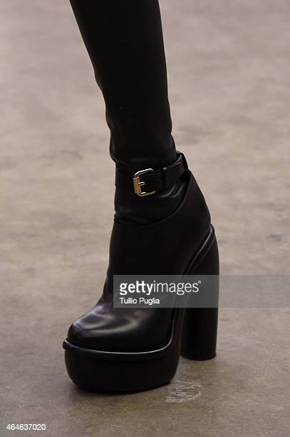 A model walks the runway at the Iceberg show during the Milan Fashion Week Autumn/Winter 2015 on February 27 2015 in Milan Italy