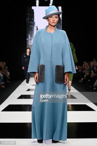 A model walks the runway at the Igor Gulyaev fashion show during day five of Mercedes Benz Fashion Week Russia FW16/17 at Manege on March 15 2016 in...