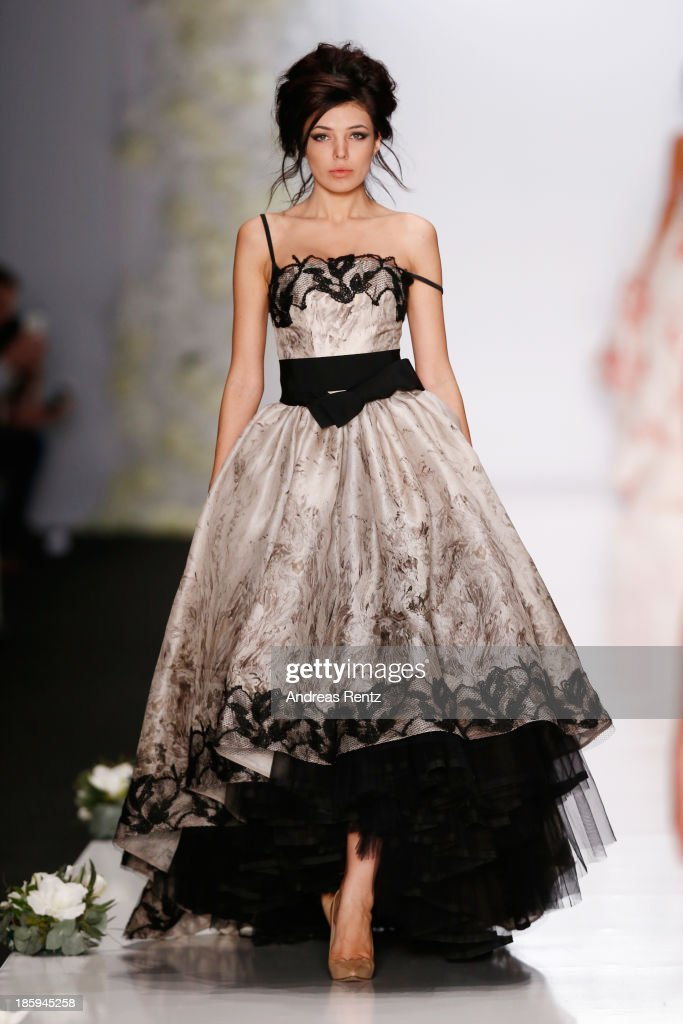 A model walks the runway at the IGOR GULYAEV show during Mercedes-Benz Fashion Week Russia S/S 2014 on October 26, 2013 in Moscow, Russia.