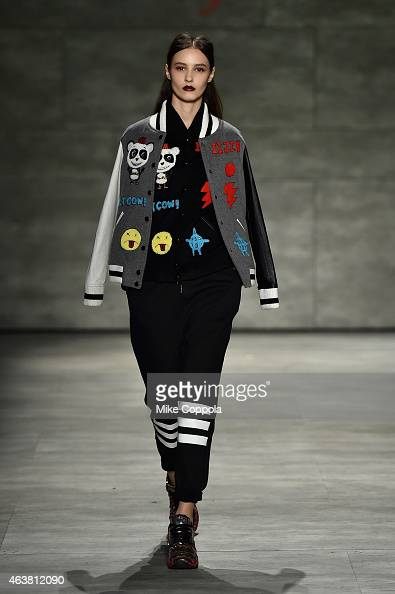 A model walks the runway at the IIJIN fashion show during MercedesBenz Fashion Week Fall at The Pavilion at Lincoln Center on February 18 2015 in New...