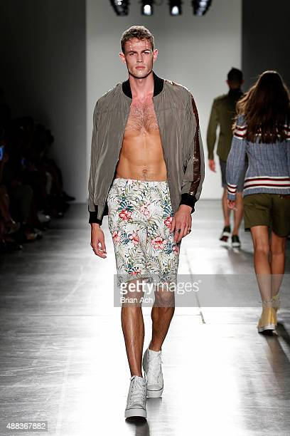 A model walks the runway at the iiJin S/S 2016 fashion show during New York Fashion Week at Pier 59 on September 15 2015 in New York City