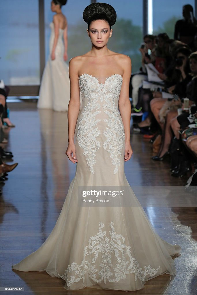 A model walks the runway at the Ines Di Santo Fall 2014 Bridal collection show at The Standard - High Line Room on October 13, 2013 in New York City.