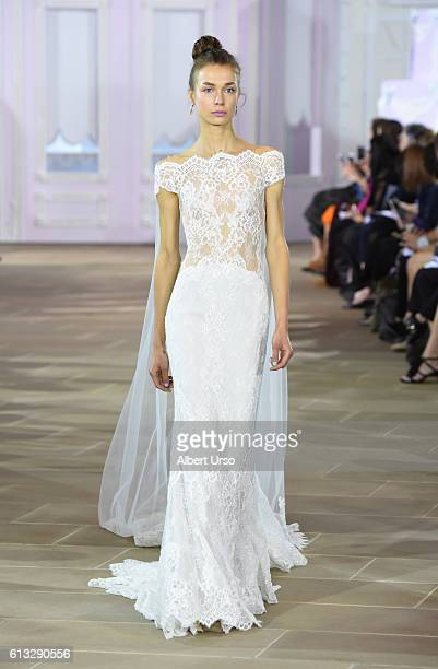A model walks the runway at the Ines Di Santo show during New York Fashion Week Bridal at The IAC Building on October 7 2016 in New York City