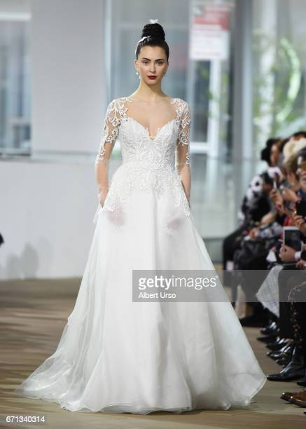 A model walks the runway at the Ines Di Santo show during New York Fashion Week Bridal at The IAC Building on April 21 2017 in New York City