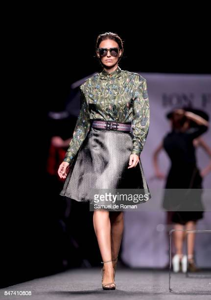 A model walks the runway at the Ion Fiz show during the MercedesBenz Fashion Week Madrid Spring/Summer 2018 at Ifema on September 15 2017 in Madrid...