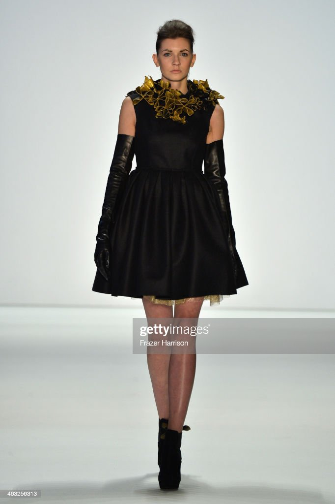 A model walks the runway at the Irene Luft show during MercedesBenz Fashion Week Autumn/Winter 2014/15 at Brandenburg Gate on January 17 2014 in...