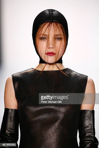 A model walks the runway at the Irene Luft show during the MercedesBenz Fashion Week Berlin Autumn/Winter 2015/16 at Brandenburg Gate on January 22...