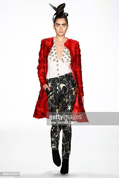 A model walks the runway at the Irene Luft show during the MercedesBenz Fashion Week Berlin Autumn/Winter 2016 at Brandenburg Gate on January 22 2016...