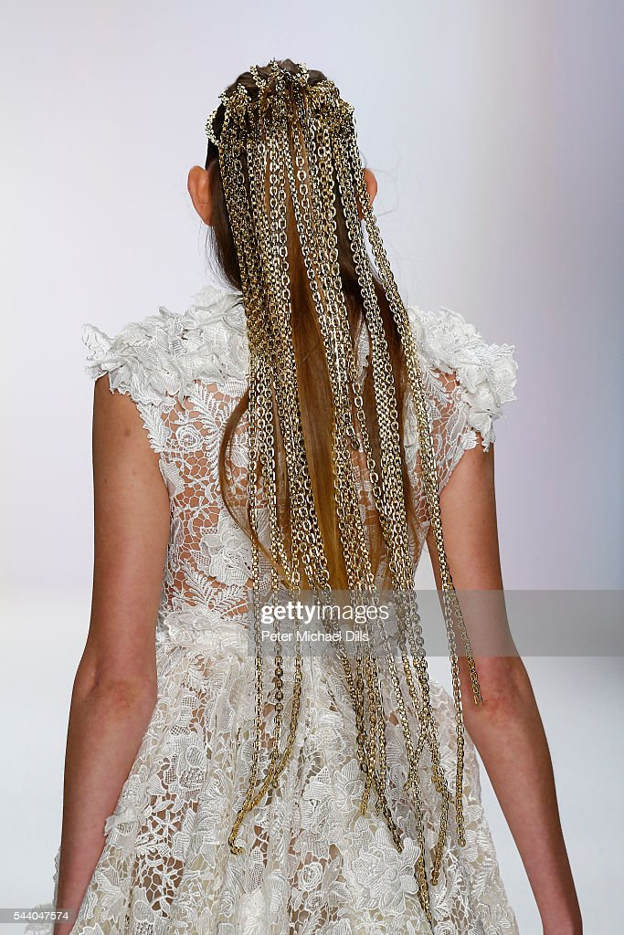 A model walks the runway at the Irene Luft show during the Mercedes-Benz Fashion Week Berlin Spring/Summer 2017 at Erika Hess Eisstadion on July 1, 2016 in Berlin, Germany.