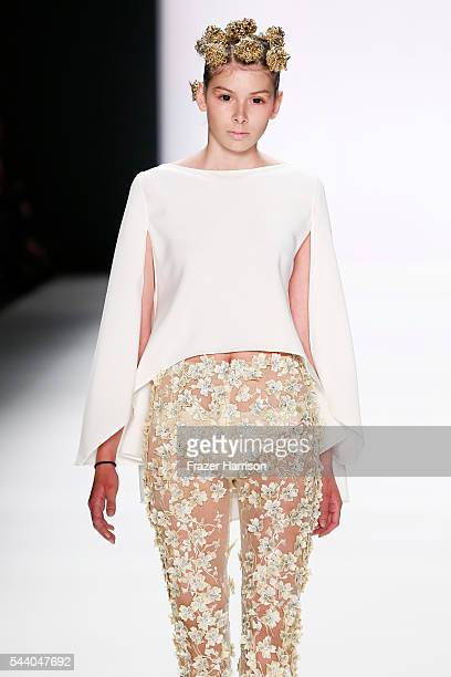 A model walks the runway at the Irene Luft show during the MercedesBenz Fashion Week Berlin Spring/Summer 2017 at Erika Hess Eisstadion on July 1...