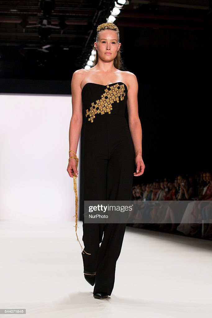 A model walks the runway at the Irene Luft show during the Mercedes-Benz Fashion Week Berlin Spring/Summer 2017 at Erika Hess Eisstadion in Berlin, Germany on July 1st, 2016.