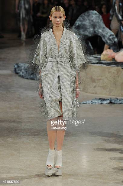 A model walks the runway at the Iris Van Herpen Spring Summer 2016 fashion show during Paris Fashion Week on October 6 2015 in Paris France