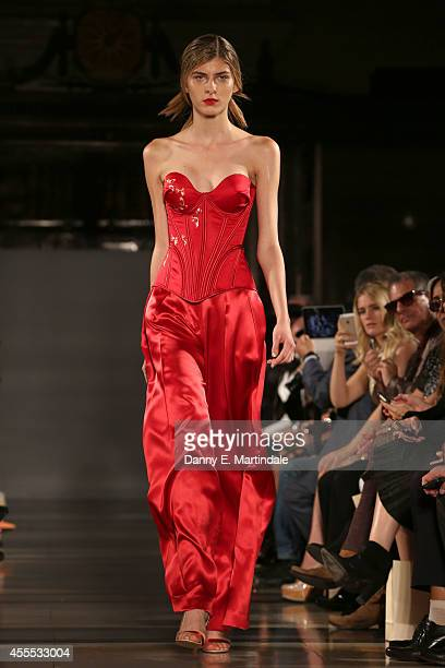 A model walks the runway at the Isabel Garcia show during London Fashion Week Spring Summer 2015 at Fashion Scout Venue on September 16 2014 in...