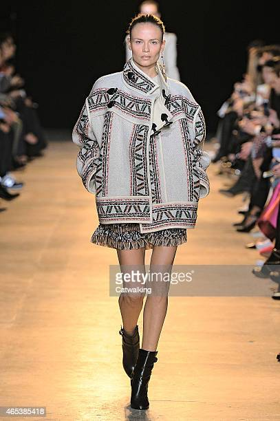 A model walks the runway at the Isabel Marant Autumn Winter 2015 fashion show during Paris Fashion Week on March 6 2015 in Paris France