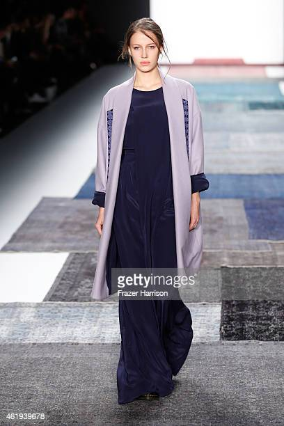 A model walks the runway at the Isabell de Hillerin show during the MercedesBenz Fashion Week Berlin Autumn/Winter 2015/16 at Brandenburg Gate on...