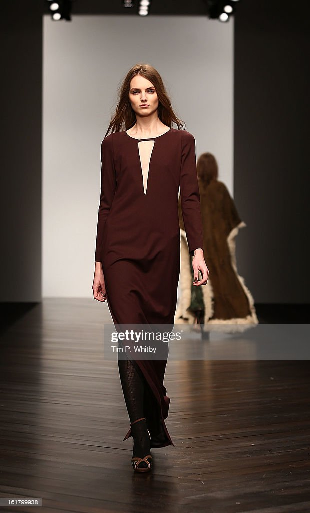 A model walks the runway at the Issa London show during London Fashion Week Fall/Winter 2013/14 at Somerset House on February 16, 2013 in London, England.