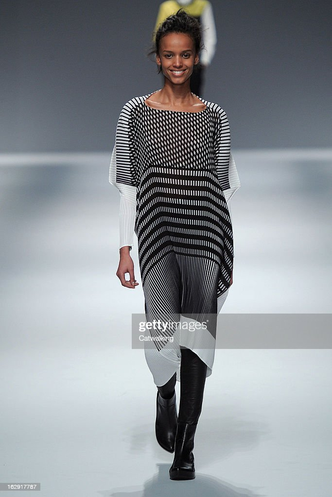 A model walks the runway at the Issey Miyake Autumn Winter 2013 fashion show during Paris Fashion Week on March 1, 2013 in Paris, France.