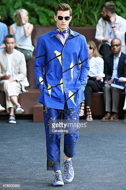 A model walks the runway at the Issey Miyake Men Spring Summer 2016 fashion show during Paris Menswear Fashion Week on June 25 2015 in Paris France