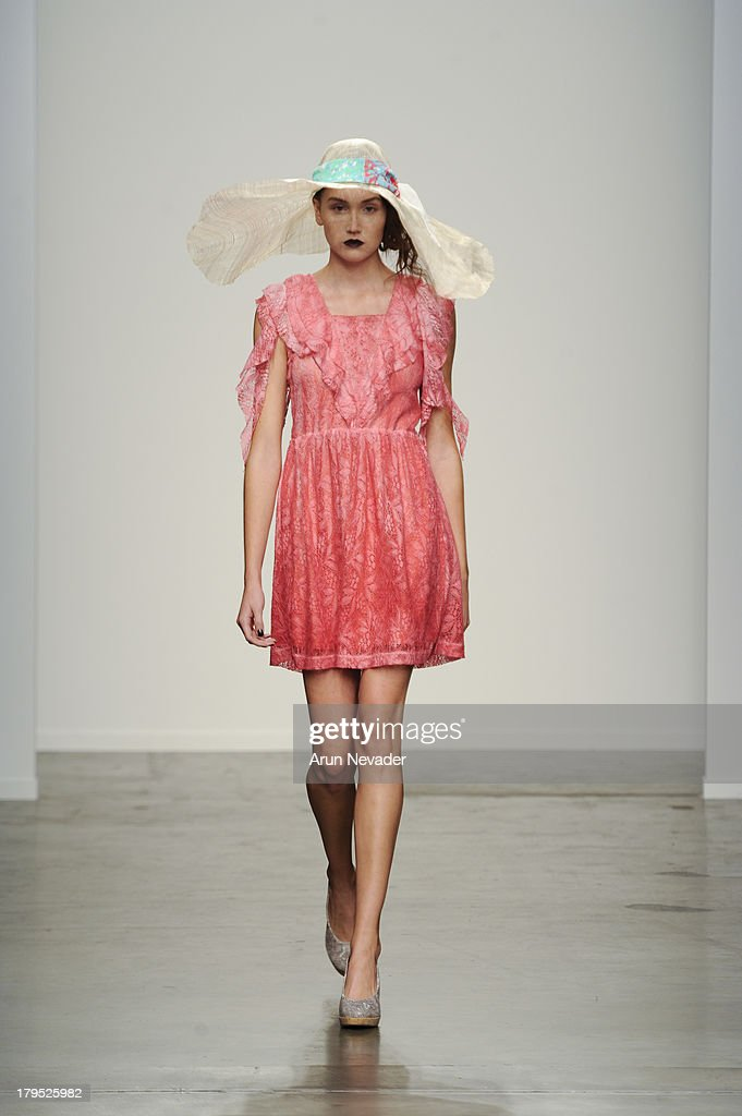 A model walks the runway at the Ivana Helsinki fashion show during Mercedes-Benz Fashion Week Spring 2014 at Pier 59 on September 4, 2013 in New York City.