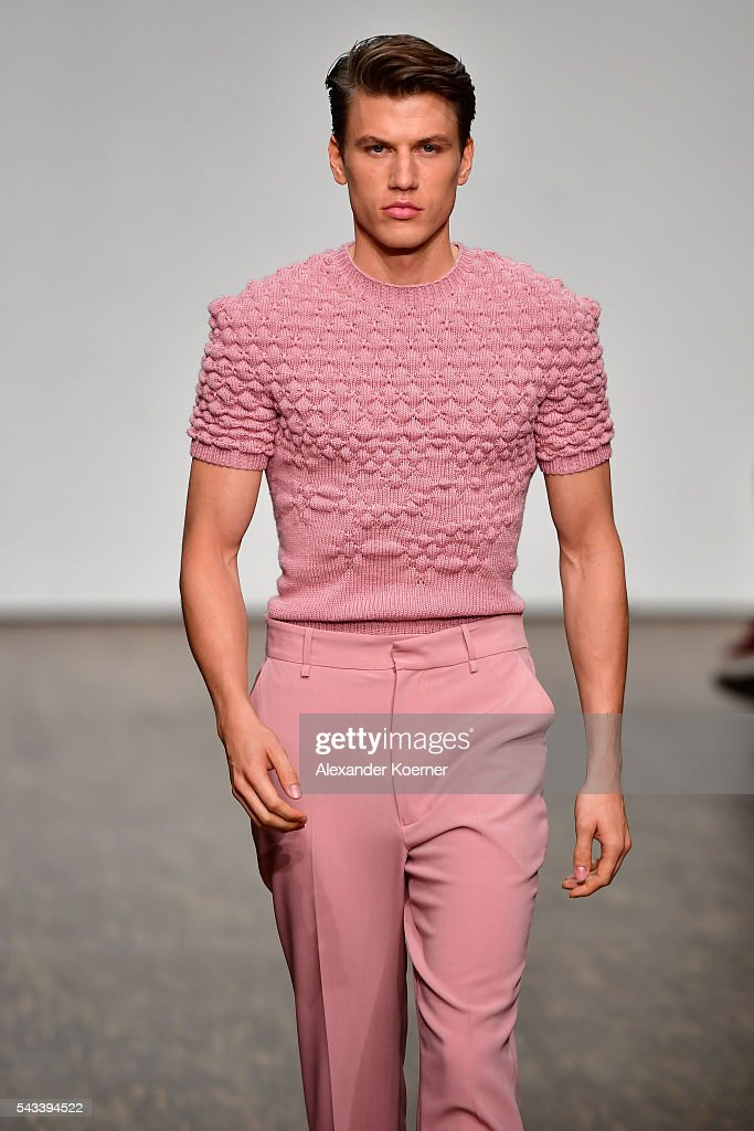 A model walks the runway at the Ivanman show during the Mercedes-Benz Fashion Week Berlin Spring/Summer 2017 at Stage at me Collectors Room on June 28, 2016 in Berlin, Germany.