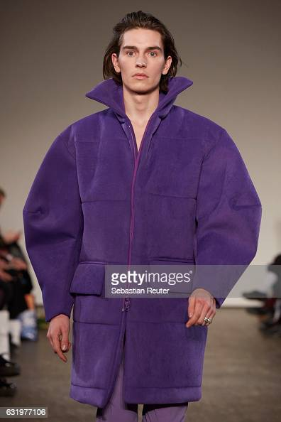 A model walks the runway at the Ivanman show during the MercedesBenz Fashion Week Berlin A/W 2017 at Stage at me Collectors Room on January 18 2017...