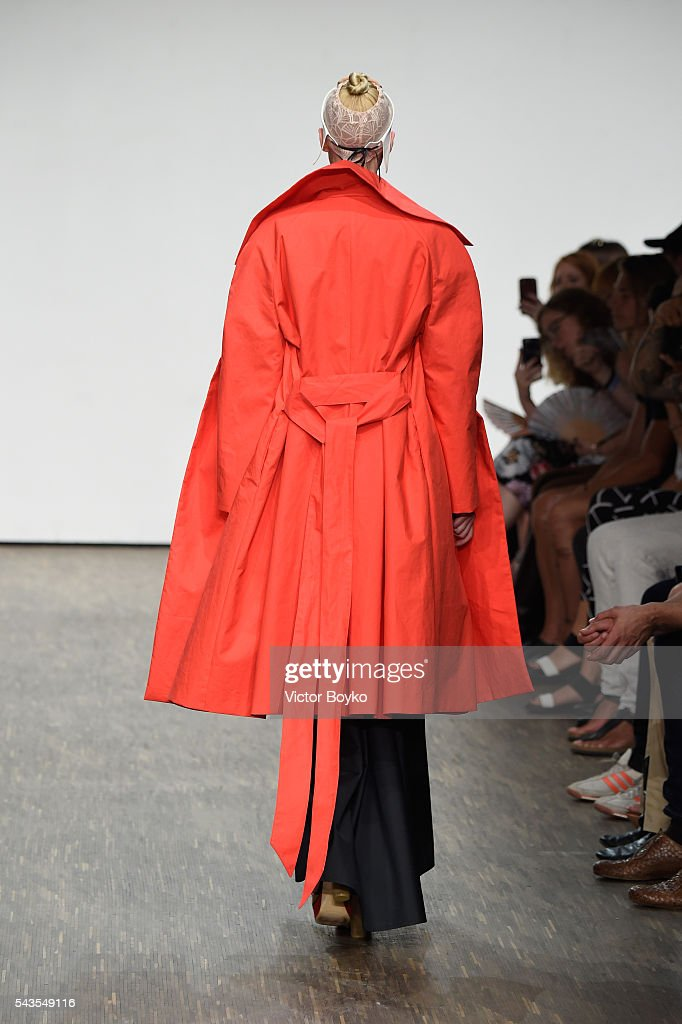 A model walks the runway at the I'Vr Isabel Vollrath show during the Mercedes-Benz Fashion Week Berlin Spring/Summer 2017 at Stage at me Collectors Room on June 29, 2016 in Berlin, Germany.