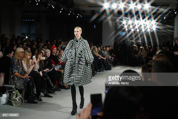A model walks the runway at the I'Vr Isabel Vollrath show during the MercedesBenz Fashion Week Berlin A/W 2017 at Kaufhaus Jandorf on January 20 2017...
