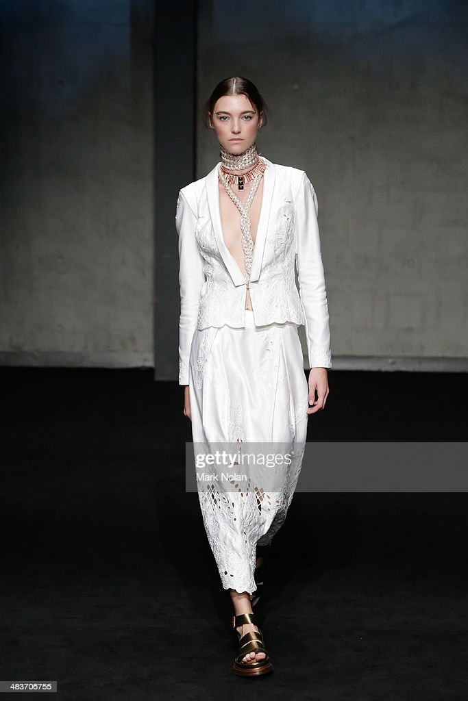 A model walks the runway at the Ixiah show during MercedesBenz Fashion Week Australia 2014 at Carriageworks on April 10 2014 in Sydney Australia