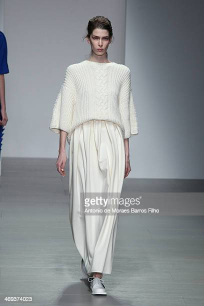 A model walks the runway at the J JS Lee show at London Fashion Week AW14 at Somerset House on February 14 2014 in London England