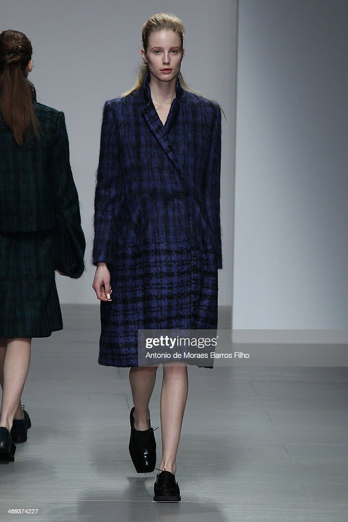 A model walks the runway at the J. JS Lee show at London Fashion Week AW14 at Somerset House on February 14, 2014 in London, England.