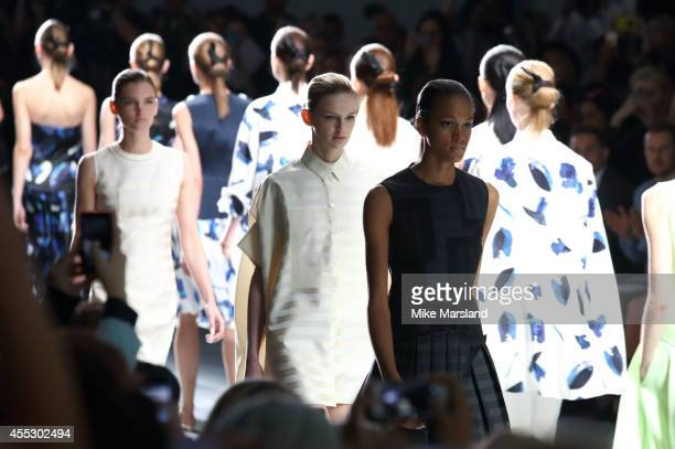 A model walks the runway at the J JS Lee show during London Fashion Week Spring Summer 2015 at Somerset House on September 12 2014 in London England