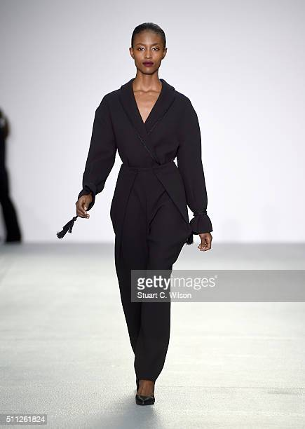 A model walks the runway at the J JS Lee show during London Fashion Week Autumn/Winter 2016/17 at Brewer Street Car Park on February 19 2016 in...