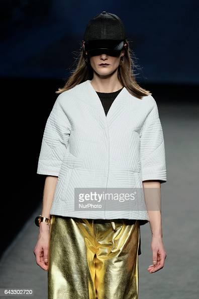 A model walks the runway at the J Lorenzo show during the MercedesBenz Madrid Fashion Week Autumn/Winter 2017 at Ifema on February 20 2017 in Madrid...